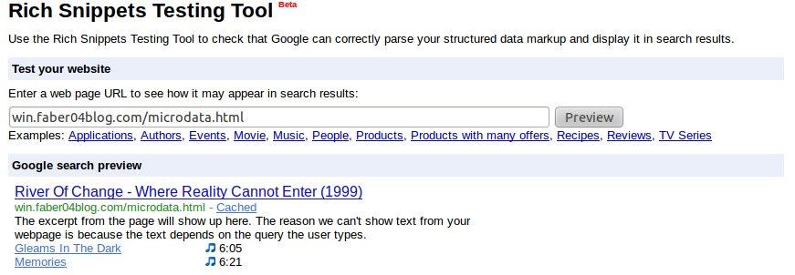 Esempio di lettura dei microdati con Google
